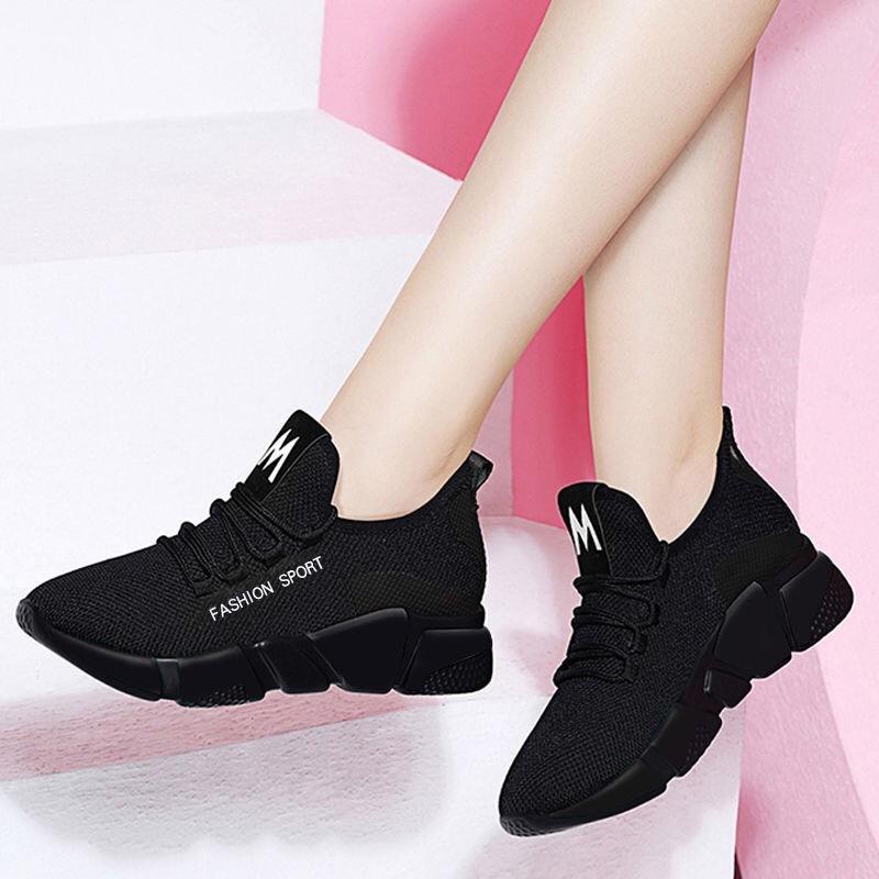 2019春季新款女士运动鞋飞织透气厚底韩版百搭休闲鞋运动风单鞋