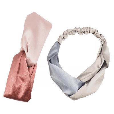 新款水晶缎交叉发带 运动洗脸家居束发带 发箍头饰高端定制