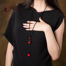 原创民族风项链挂件衣服百搭秋冬红色装饰品长款复古毛衣链配饰女