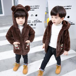 男童冬季可爱小熊毛毛衣外套中小童连帽宝宝毛绒衣服卡通2岁6加厚