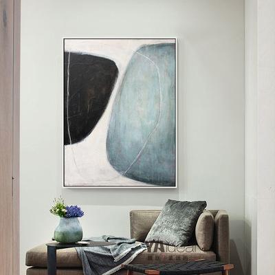 客厅沙发背景墙极简抽象色块巨幅油画样板房软装馆纯手绘装饰油画