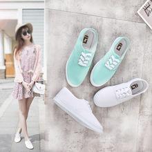 帆布鞋小白鞋女休闲平底单鞋2019春季新款百搭韩版系带学生鞋子潮