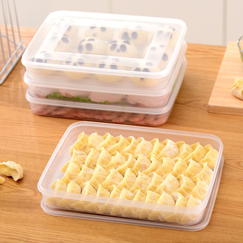 速冻饺子盒无分格带盖冻水饺装馄钝密封盒冰箱保鲜收纳盒饺子拖盘