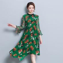 2018春夏新款A型宽松荷叶袖真丝连衣裙复古印花桑蚕丝裙子 NK6619