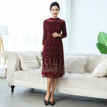 中老年女装2018秋装新款褶皱连衣裙中年妈妈装洋气套装裙子高贵