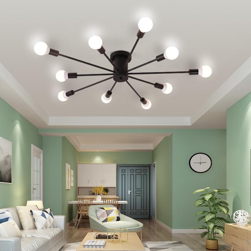 北欧个性创意灯简约现代铁艺灯客厅卧室书房吸顶灯美式乡村吊灯