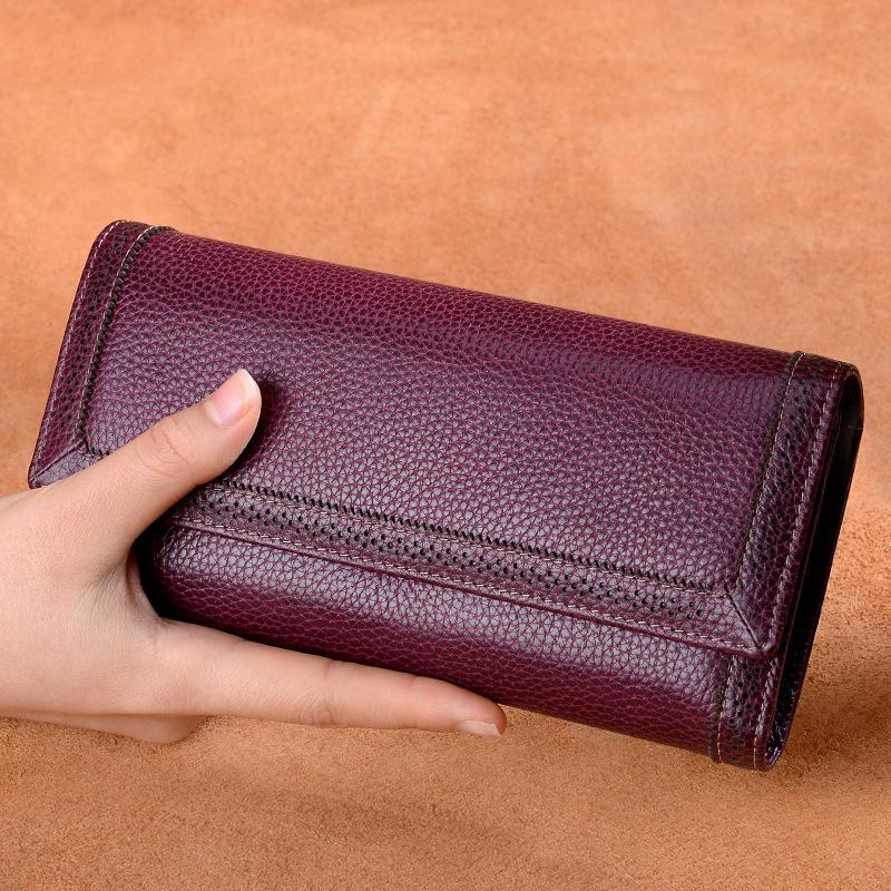 2019新款錢包長款錢包 女士真皮 搭扣手拿包錢夾卡包箱包一件代發