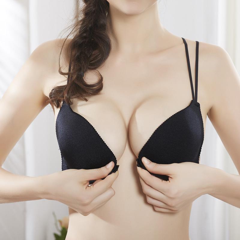 前扣美背文胸 无钢圈小胸聚拢上托内衣女性感无痕内衣一片式胸罩