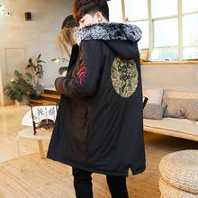 男士外套冬季2018新款男装刺绣棉服中长款连帽中国风棉衣个性潮流