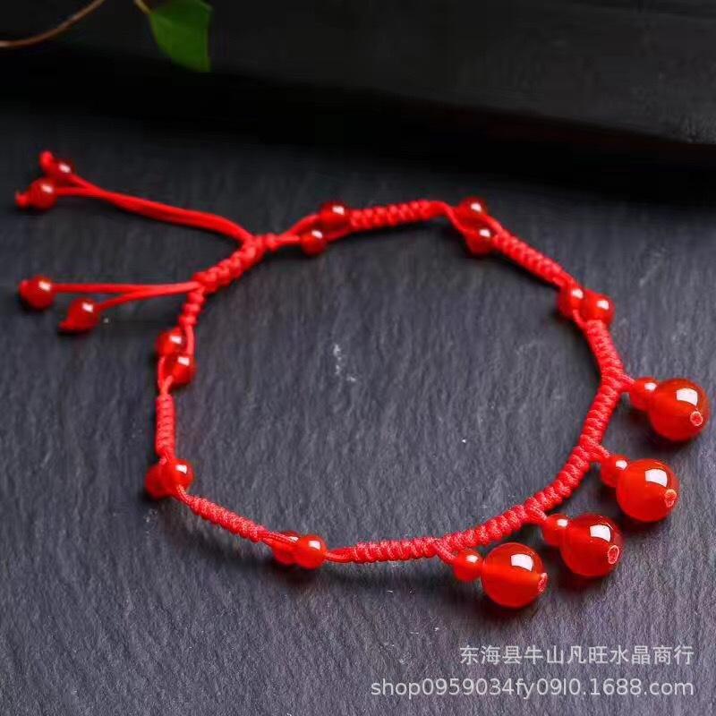 天然水晶脚链 纯手工编制红玛瑙 石榴石幸运红绳时尚脚链韩版时尚