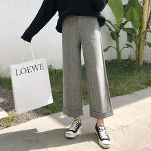 2019冬季韩版宽松高腰休闲裤女 竖条显瘦九分裤羊毛呢阔腿裤女