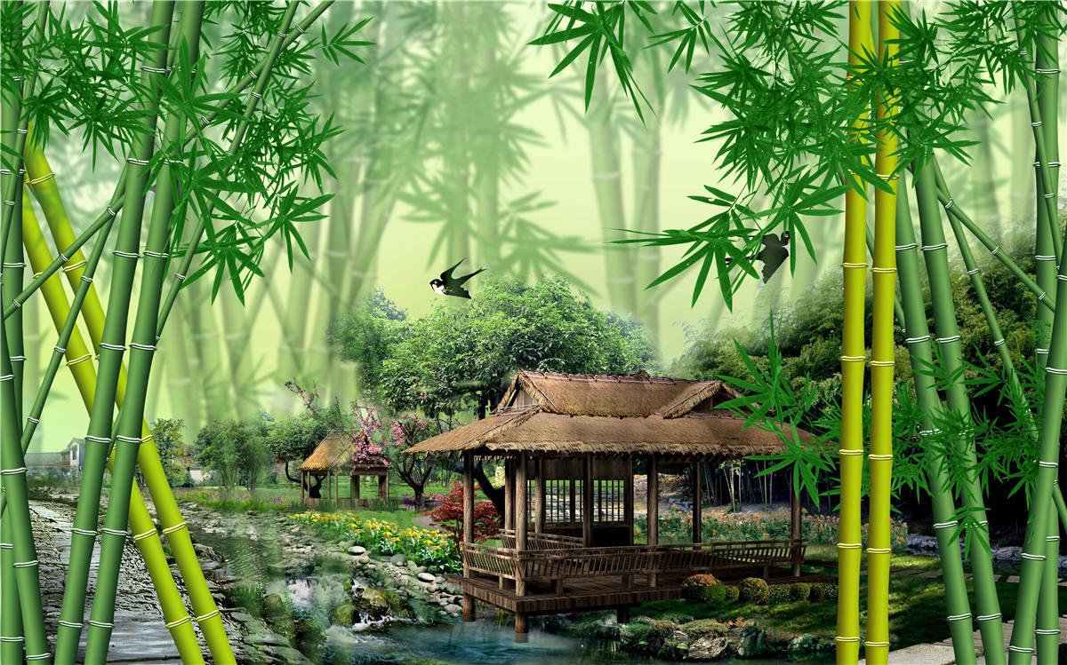 风景画竹子海报竹林竹叶绿色植物壁画书房客厅玄关装饰贴墙画定制