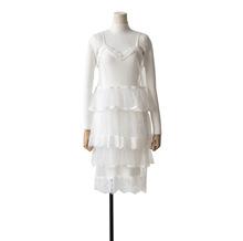 法式毛衣蕾丝连衣裙两件套气质中长冬季针织打底裙名媛小香风赫本