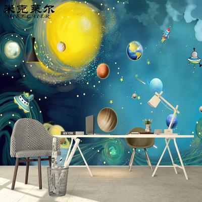 手绘卡通宇宙星空壁纸太空遨游儿童房卧室背景墙纸幼儿园墙布壁画