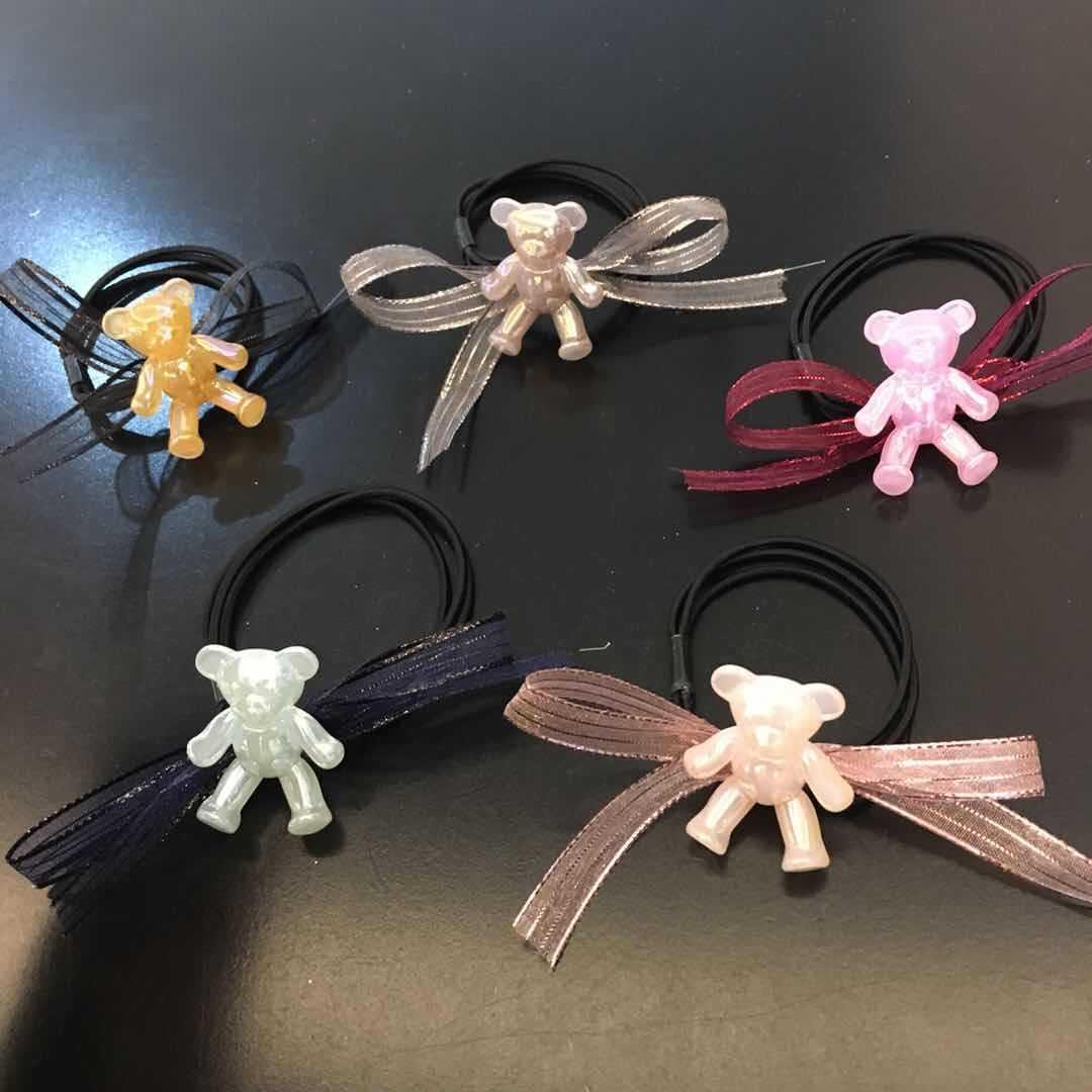 韩版新款可爱小熊发圈 蝴蝶结飘带亮熊发绳 丸子头绳 可爱皮筋