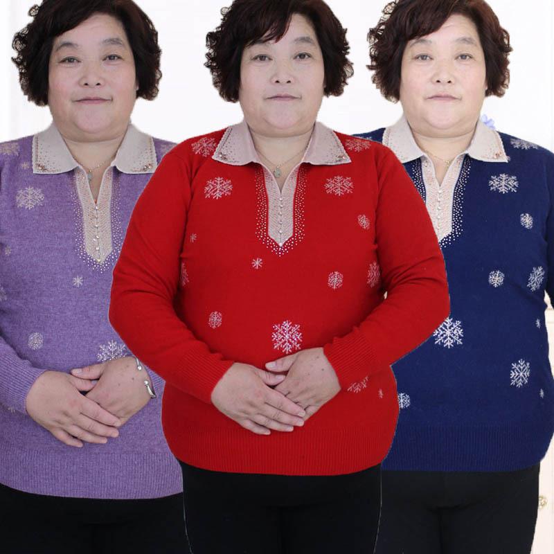秋冬烫钻羊毛衫特体胖妈妈毛衣女装翻领针织衫加大加肥200斤上衣