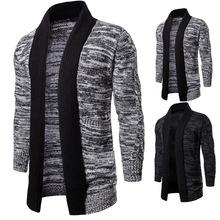 2019春季外贸加厚中长款撞色毛衣针织毛线衫外套开衫披风 YM014