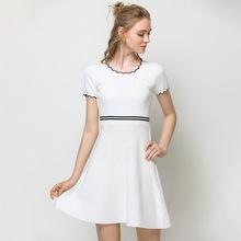 欧美连衣裙18夏季新款显瘦针织裙子?#37319;?#34028;蓬裙小香风裙子一件代发
