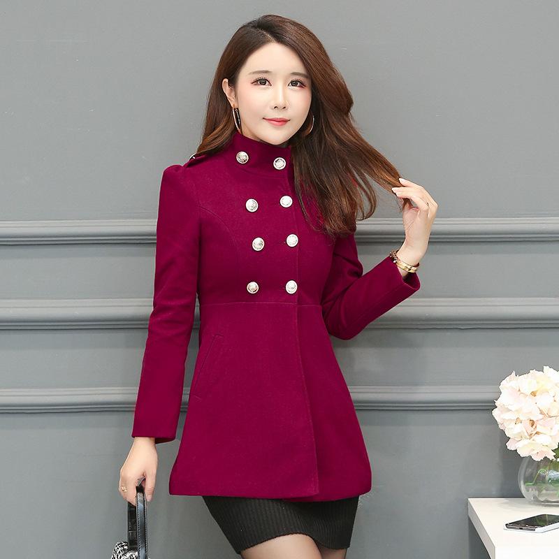 实拍2019秋冬新品女式毛呢外套韩版修身显瘦大码中长款呢子大衣