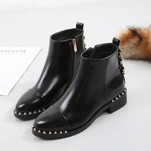 【现货】wish爆款新款女鞋马丁靴欧美中跟铆钉单靴女短靴平底女靴