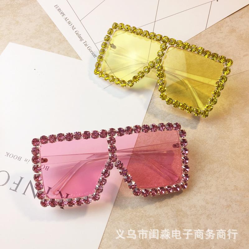 欧美风夸张重金属眼镜女潮大方框钻彩色镜片太阳镜墨镜舞台走秀