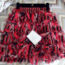 夏季新款深红色纱纱彩条半身裙女高腰洋气百搭包臀a字短裙