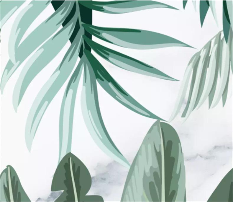 中世纪手绘无缝壁画热带雨林植物无纺布墙纸洒店餐厅背景墙布定制