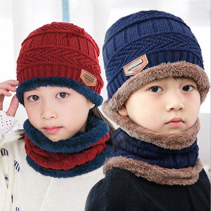 9524秋冬新款毛线帽子围脖套装 潮韩版冬季加厚保暖针织帽儿童帽