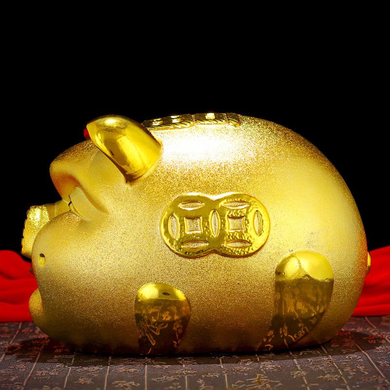 陶瓷金猪招财猪可爱招财金猪存钱罐创意储钱罐生日礼物儿童储蓄罐