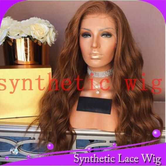 长波棕色半手工蕾丝假发synthetic wig欧美外贸出口高温丝24英寸