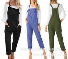 eBay?#20998;?#31449;女装背带裤 爆款大码军扣头连体裤长裤一件代发