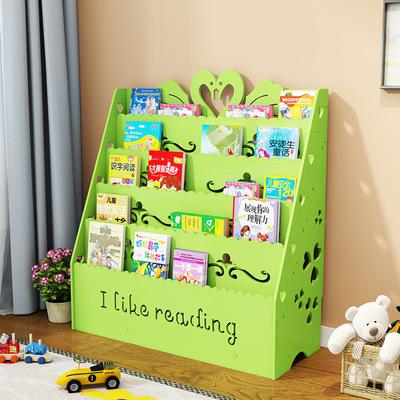 简易儿童书架落地小学生宝宝书柜幼儿园绘画卡通男女孩书报展示图片