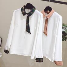 2018秋季新款女装翻领雪纺杉上衣女拼接洋气小衫宽松长袖白色衬衫