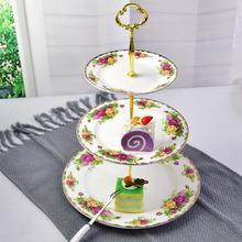 批发骨质瓷甜品盘   欧式三层陶瓷点心蛋糕盘   宴会礼品可定制