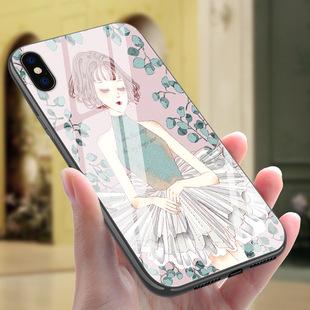 适用iphonex玻璃素材手机壳 苹果8忧郁的你彩绘保护套礼品定制壳图片