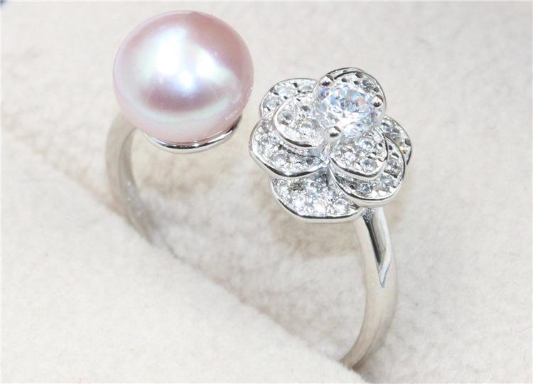 厂家直销创意款欧美珍珠戒指 电镀925银8-9mm珍珠戒指女 镶钻批发