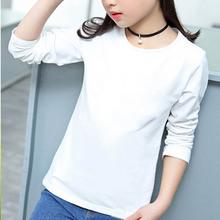 2018新款童装打底衫广告衫儿童长袖t恤女童上衣白色纯棉一件代发