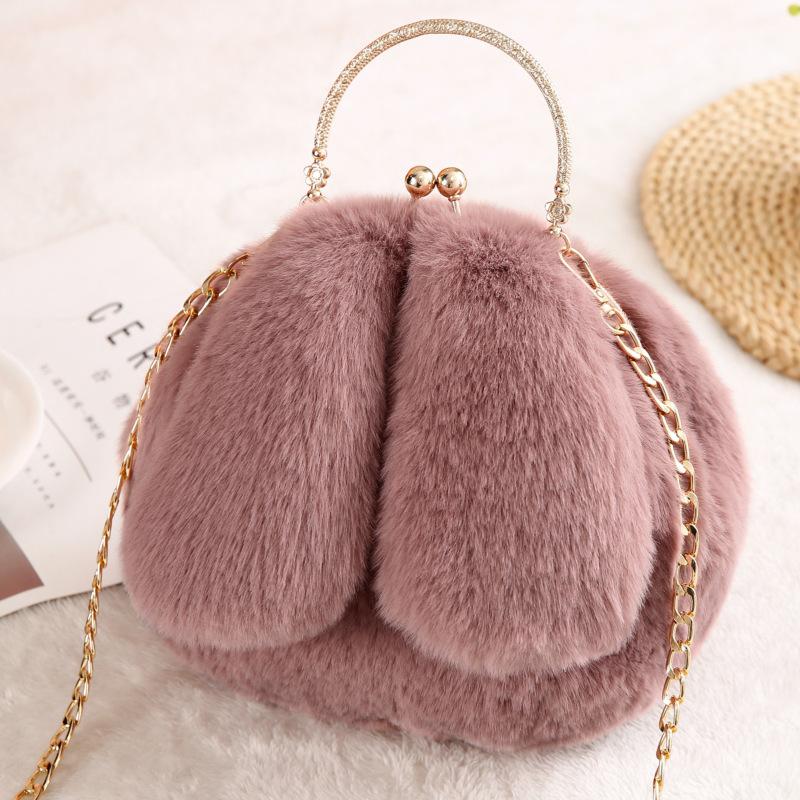 冬季毛绒兔子包2019新款单肩包毛毛包时尚可爱斜跨链条包厂家代发