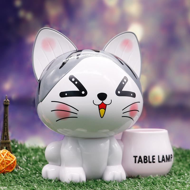 创意卡通可爱猫工艺品笔筒存钱罐USB充电小夜灯景观摆件LED小台灯