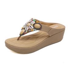 2115-3强锌2019新款民族凉拖波西米亚串珠坡跟大码凉鞋沙滩鞋批发