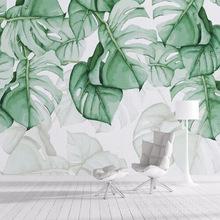 定制简约小清新绿植叶子3D墙纸北欧ins风客厅壁纸电视背景墙壁画