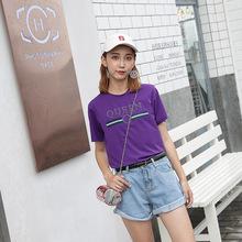 2018夏季新款字母印花短袖t恤女韩版学生纯棉宽松半袖上衣打底衫