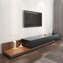 北欧电视柜黑胡桃木色可伸缩机柜电视现代简约地柜壁柜边柜组合