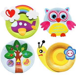 手工纸盘 儿童diy手工制作幼儿园美劳创意材料包卡通彩盘粘贴画