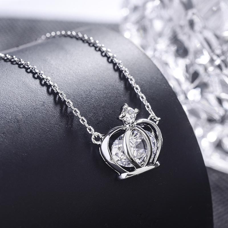 韩版时尚经典皇冠锆石短款项链 女士锁骨链批发吊坠 61674