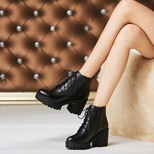 靴子粗跟短靴女2018冬新款高跟女鞋春秋单靴英伦风马丁靴羊毛女靴