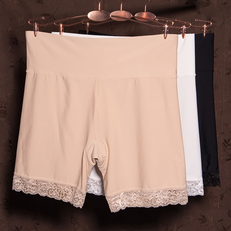 夏季防走光安全裤 打底裤高腰收腹女内裤蕾丝边无痕冰丝三分短裤