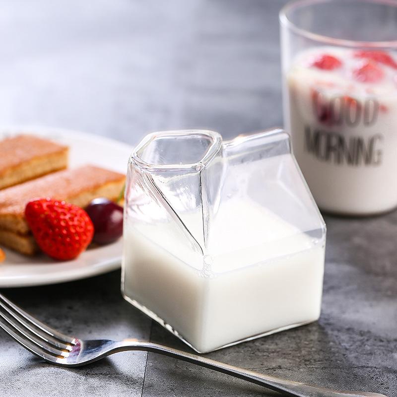 芸枫供应 厂家直销 创意美国牛奶盒玻璃杯 牛奶杯