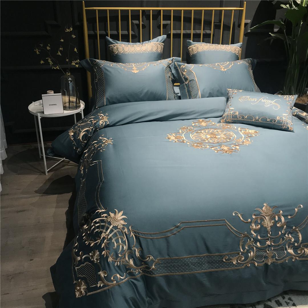 床上四件套简美欧式宫廷刺绣床上用品套件家纺软装家具样板房摆样
