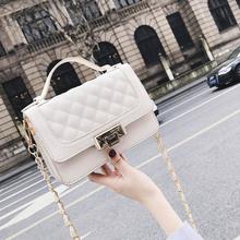 2018新款时尚大气菱格小方包潮韩版chic链条包包女单肩斜挎包小包